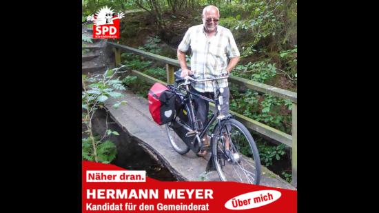 Hermann Meyer mit Fahrrad