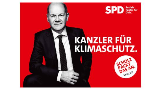 """Olaf Scholz und Text """"Kanzler für Klimaschutz"""""""