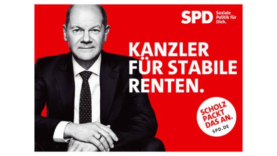 """Olaf Scholz und Text """"Kanzler für sichere Renten"""""""
