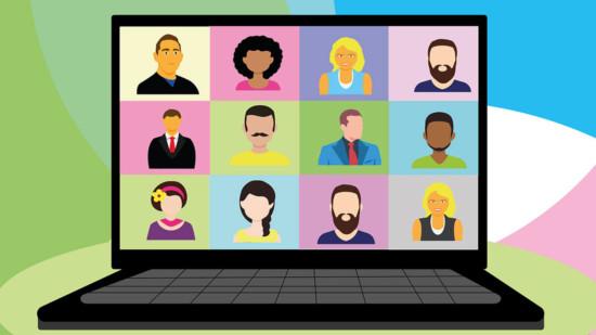 Bild: Zeichnung von Gesichtern in einer Videokonferenz
