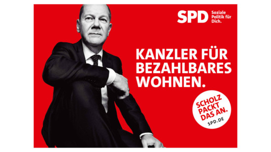 """Olaf Scholz und Text """"Kanzler für bezahlbares Wohnen"""""""