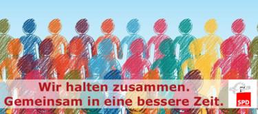 Stilisierte Menschenund der Text: Wir halten zusammen. Gemeinsam in eine bessere Zeit.