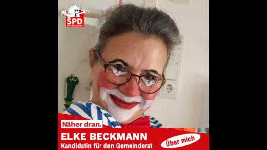 Elke Beckmann mit Clownsgesicht