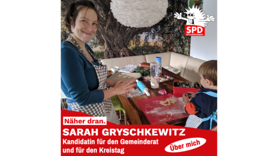 Sarah Gryschkewitz mit einem Kind beim Kekse backen