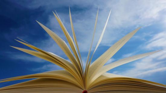 Bücherseiten vor Himmel