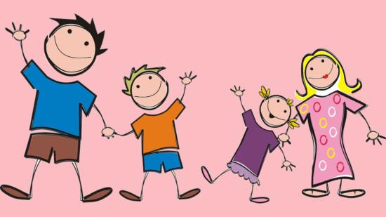 Strichzeichnung Familie mit zwei Kindern