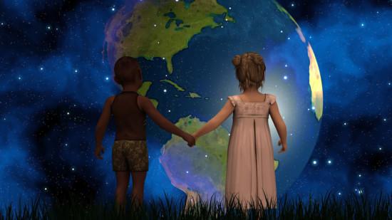 Sich an den Händen haltende Kinder vor der Erdkugel