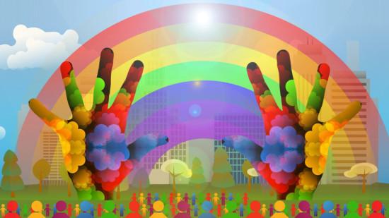 Silhouetten und bunte Hände vor einem Regenbogen