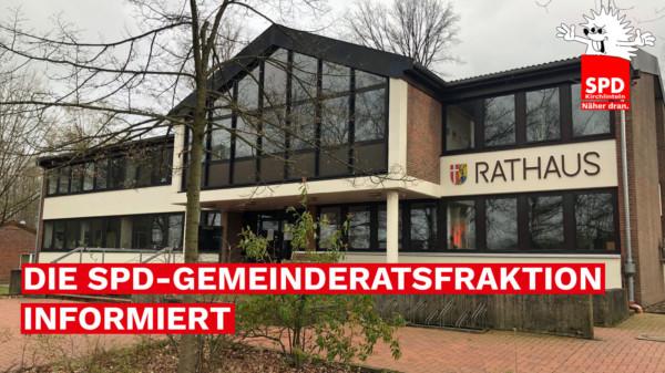 """Foto des Rathauses und der Text """"Dier SPD-Gemeinderatsfraktion informiert"""""""