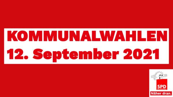 Text: Kommunalwahlen 12.September 2021 und das Logo der SPD Kirchlinteln